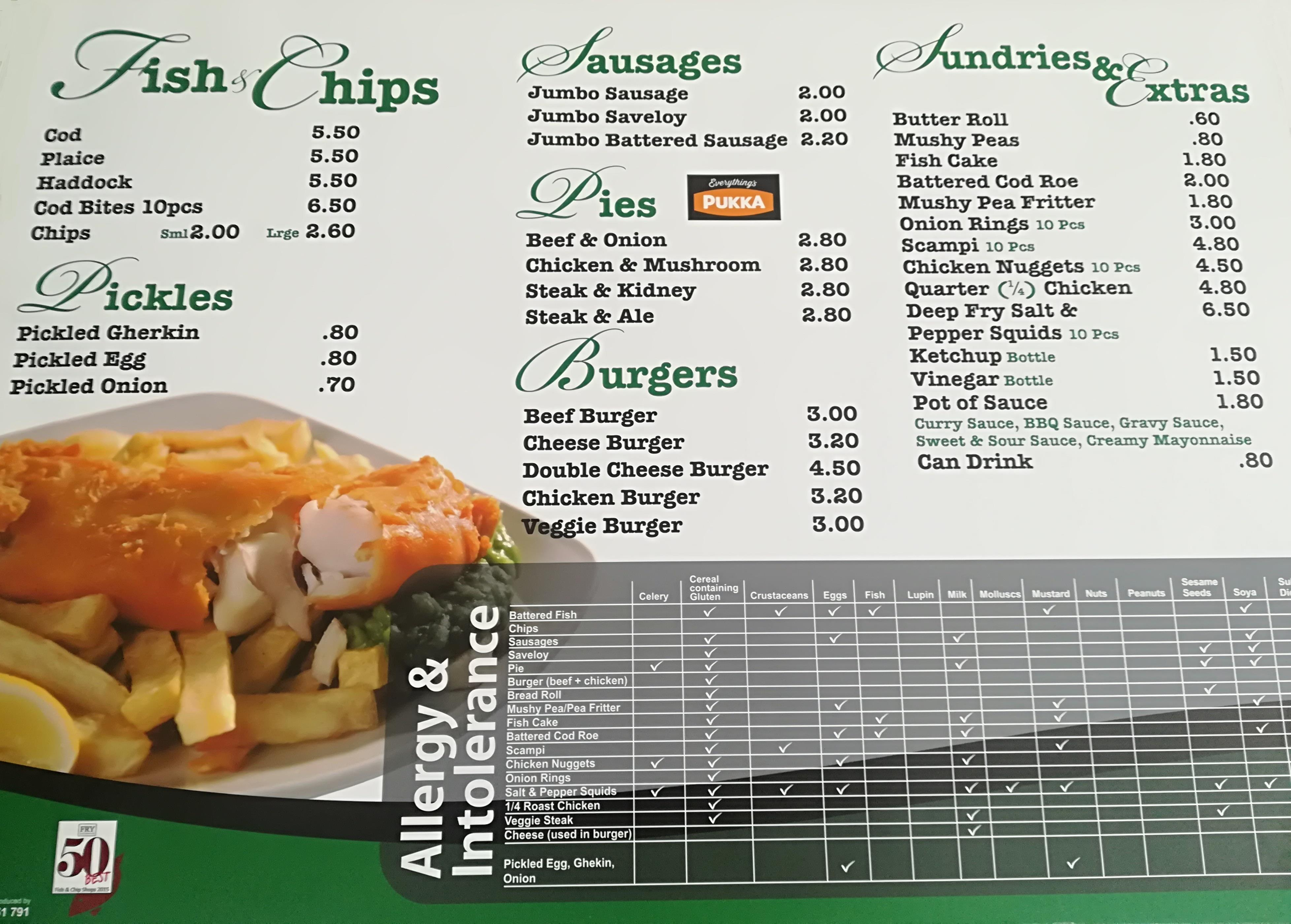 Merry House Fish and Chips Menu